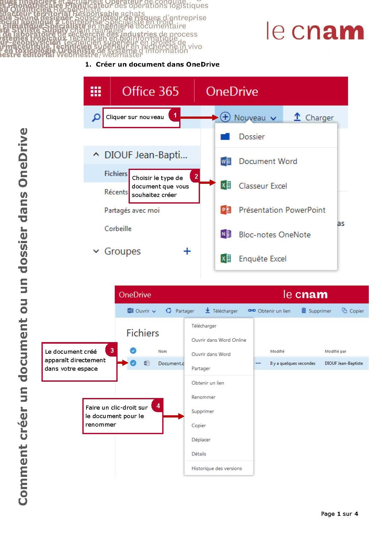 Comment créer un document ou un dossier dans Onedrive_Page_1
