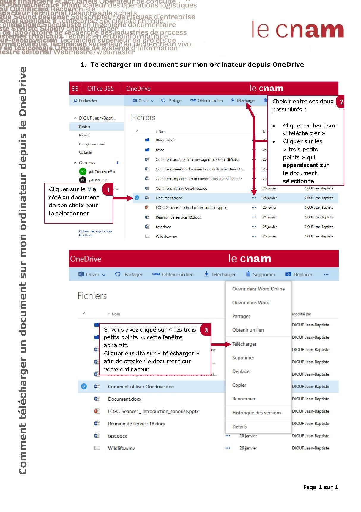 Comment télécharger un document sur mon ordinateur depuis le OneDrive