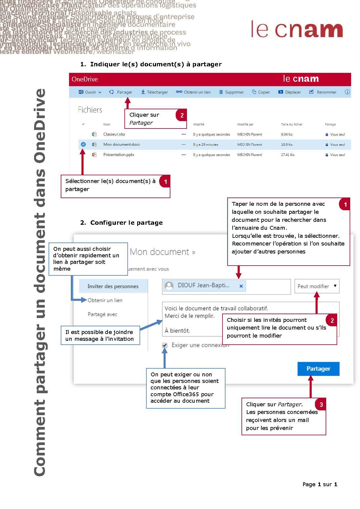 comment je partage un document dans OneDrive